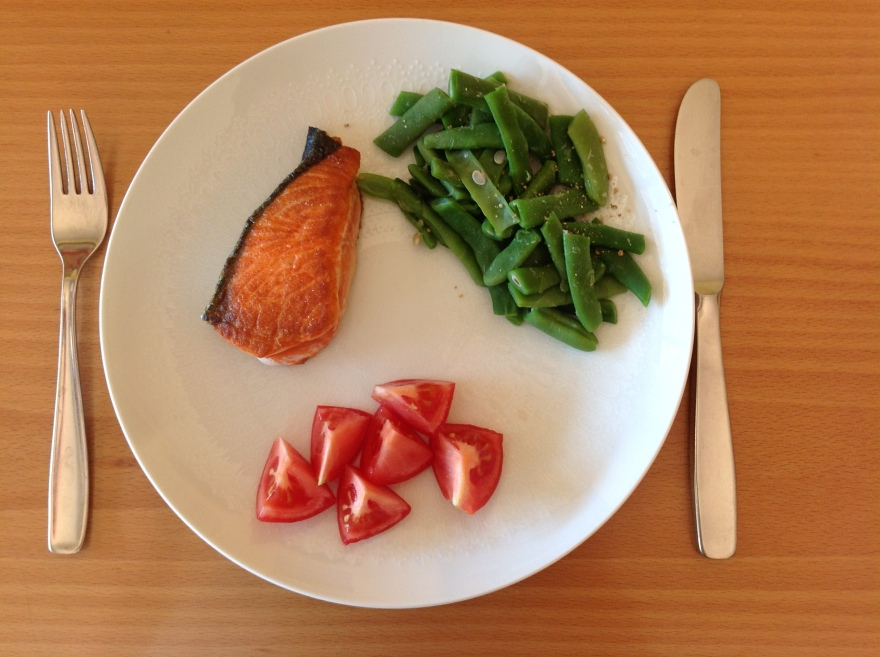 A rather sparse dinner - pan fried salmon with home grown veggies