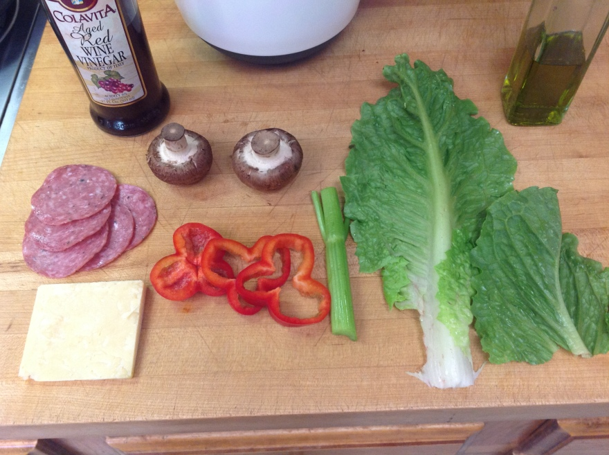 Makings for a typical lunch salad