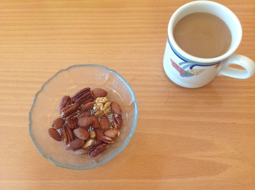 Afternoon snack - mixed toasted nuts and coffee+whipping cream