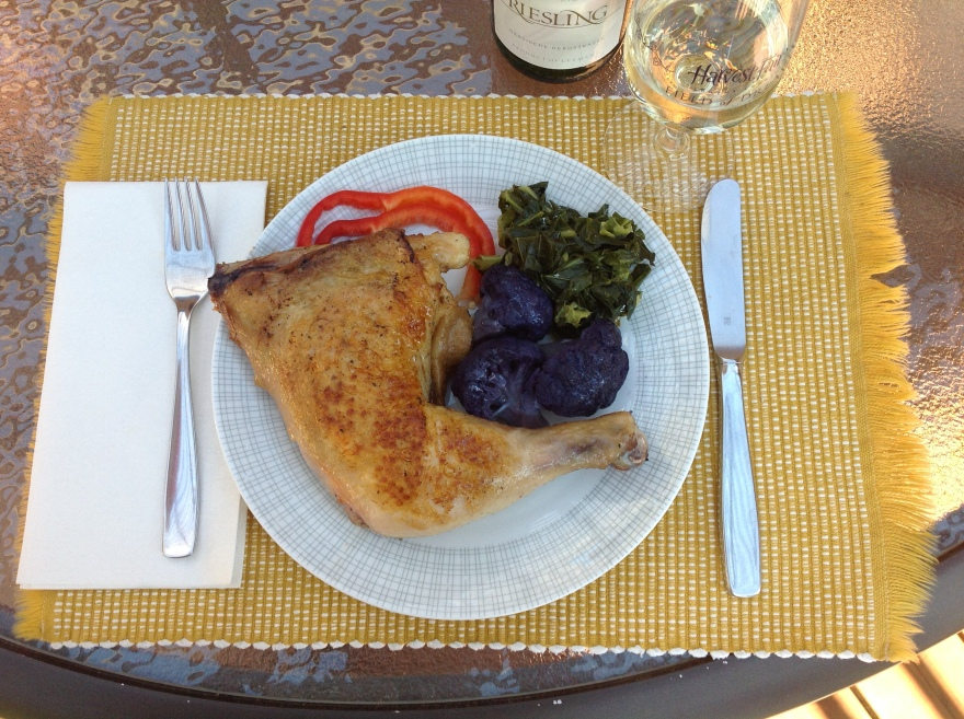 A summer's dinner - fried chicken (shared), purple cauliflower, collard greens with bacon drippings, low alcohol German riesling