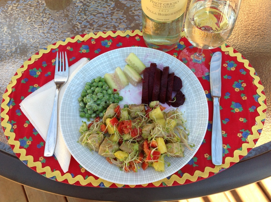 Ahi tuna salad, roasted beet, cukes and peas with yogurt + wine