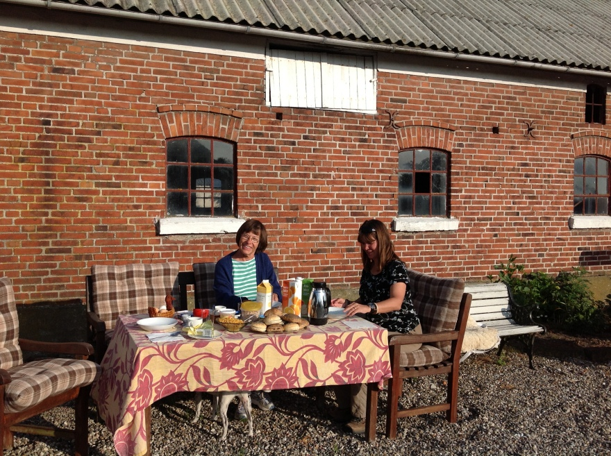 Our delightful breakfast place by the barn