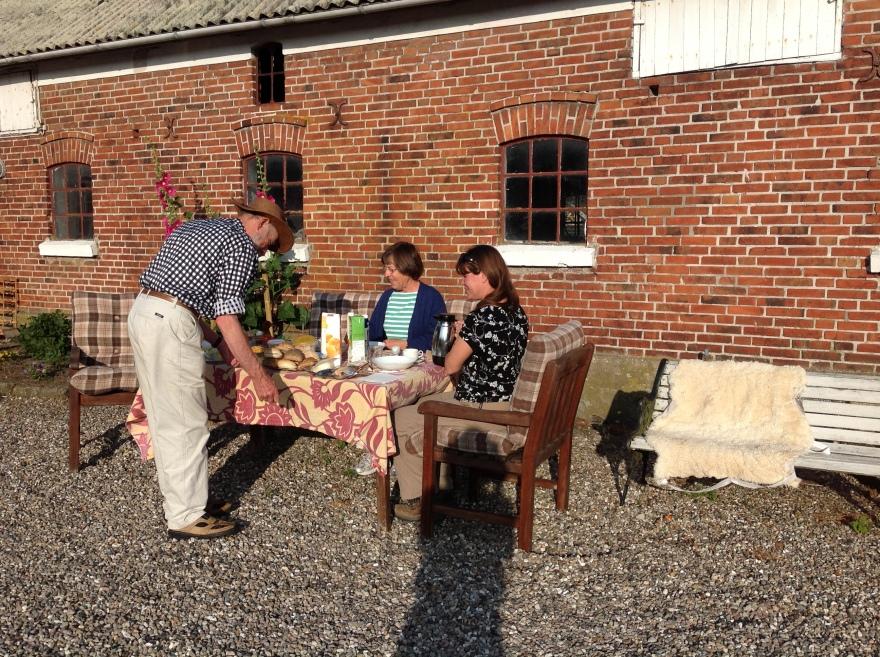 80 year old Mr. Jacobsen serves us breakfast