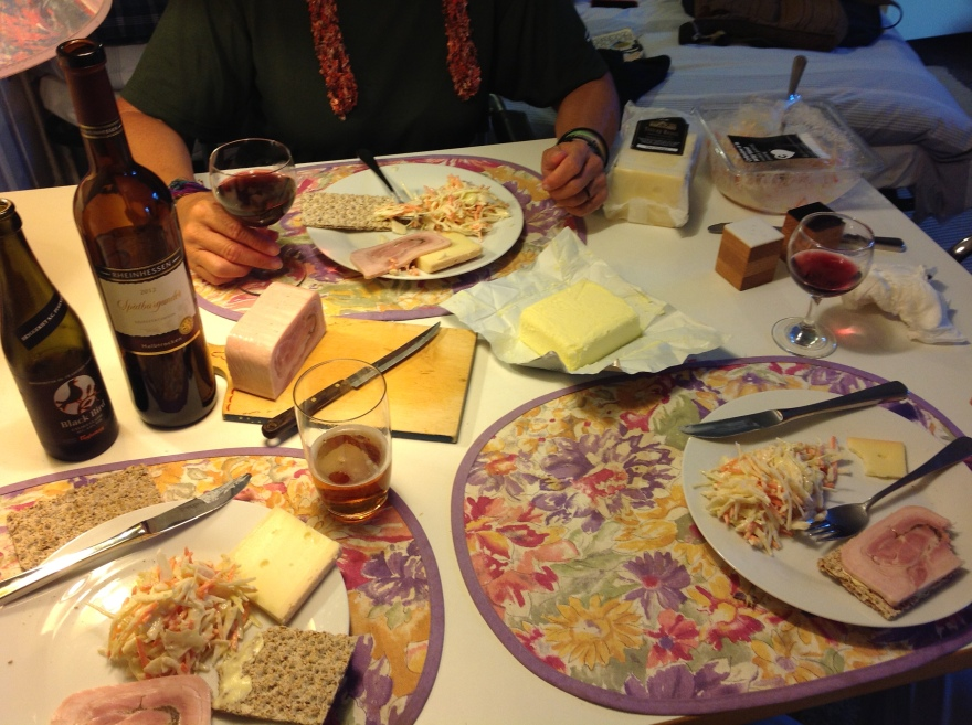 Modest supper of local products incl. Danish stinky cheese and butter