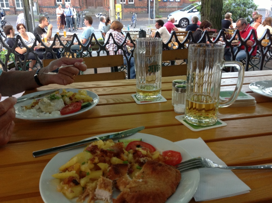 Always yummy. Most everyone drinks beer or wine at these outdoor cafes. We tried to fit in.