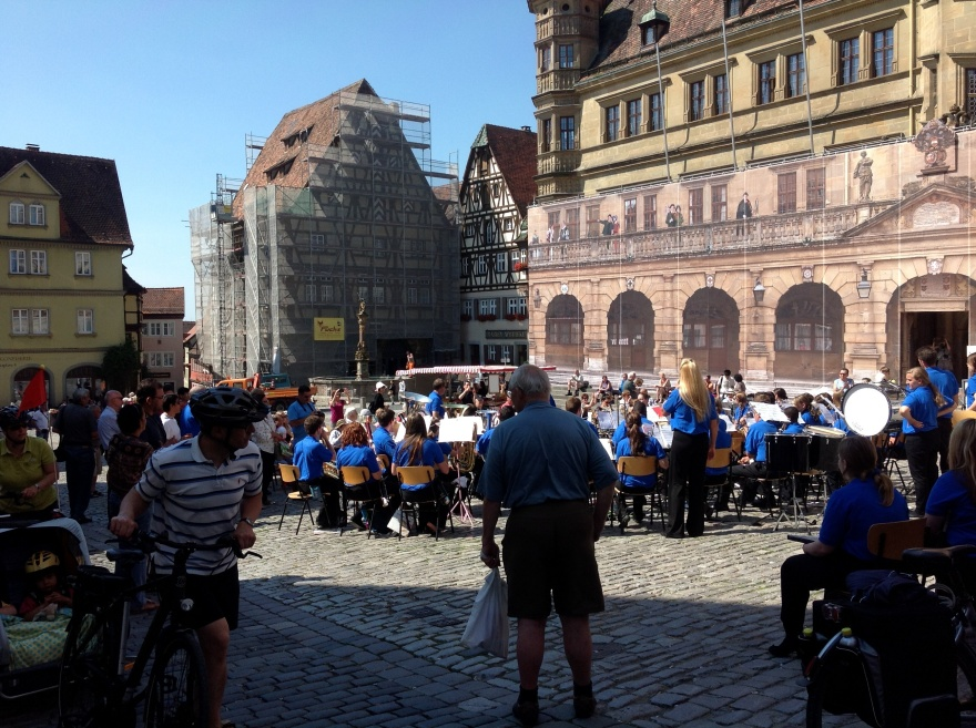 A visiting band playing in the square