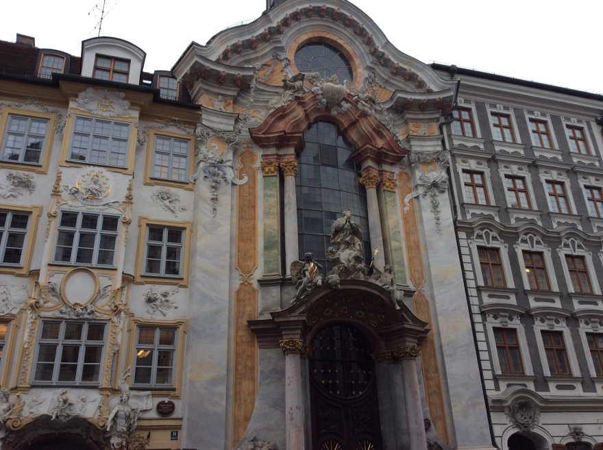 Facade of Asam brothers church in Munich