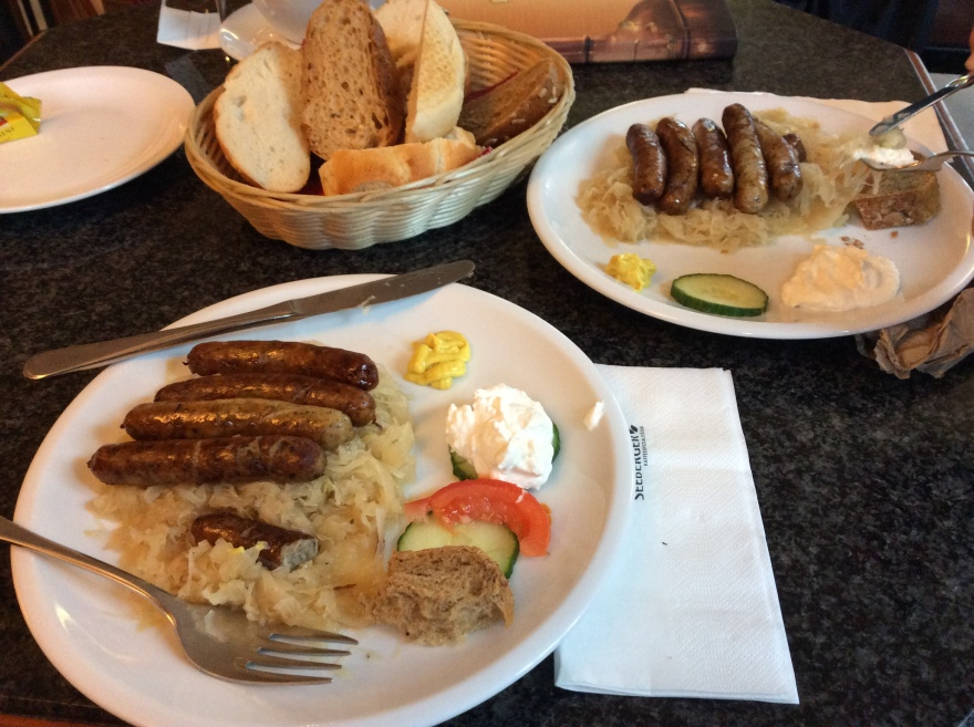 In Nürnberg you eat their famous little sausages and sauerkraut. Nuf said. Delish.