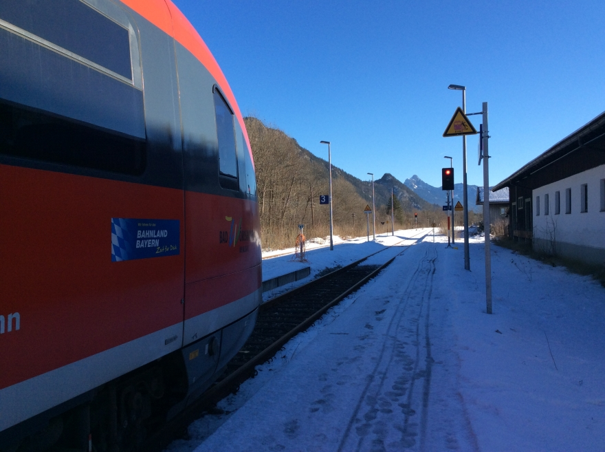 Local train at the end of the line near Austria