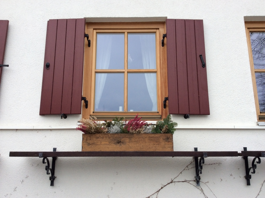 A window box in matching colors