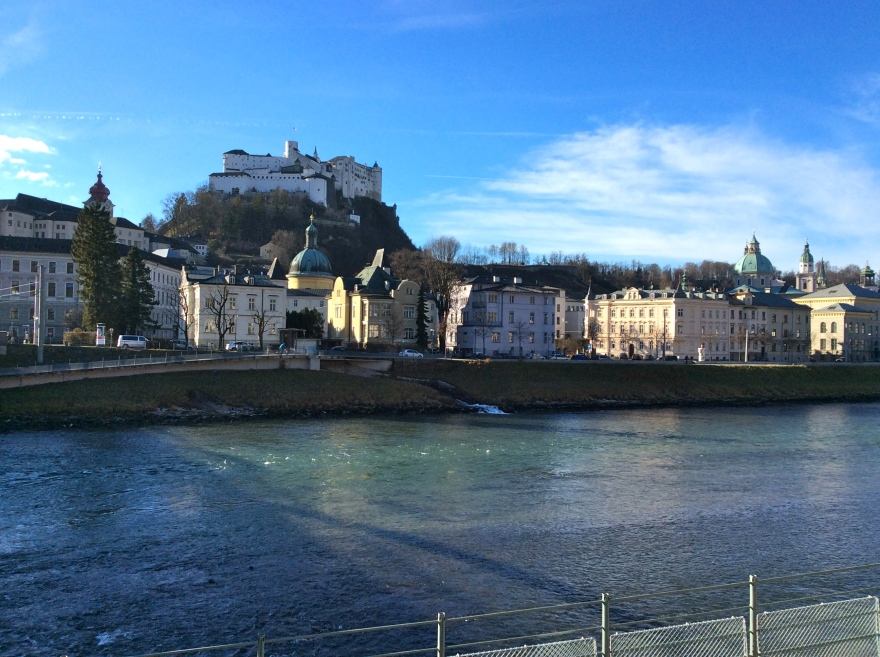 View of Old Salzburg from across the Salzach river