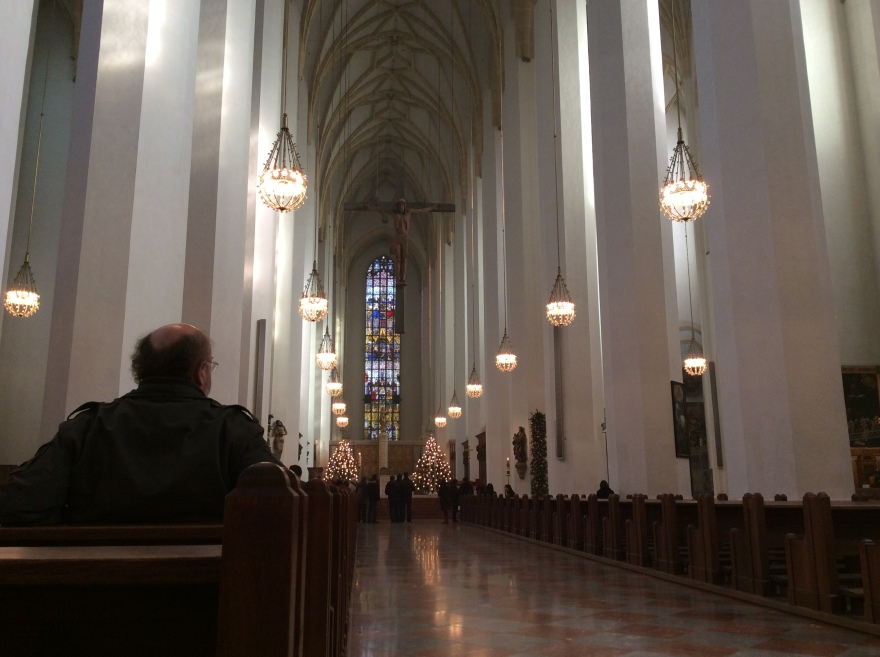 Marienkirche - the Munich cathedral - bombed out in the war but rebuilt modern and light on the inside.
