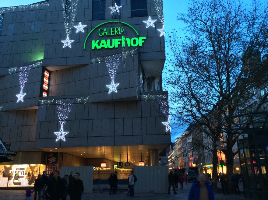 A main shopping corner with modest lights