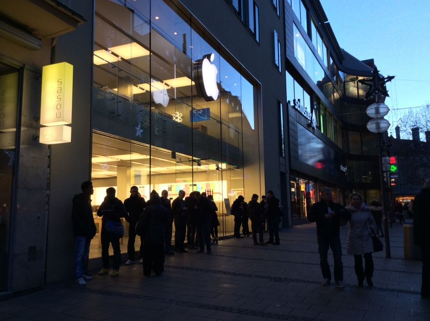 The Apple store where people were enjoying free wifi connection.