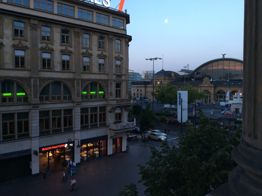 View of train station from our balcony at 9:00pm