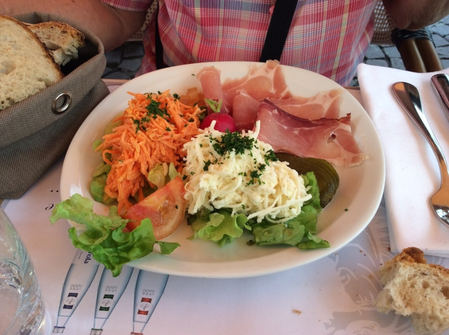The salad - delicious grated turnip, carrot with mild sauce, and Black Forest ham, the best ever