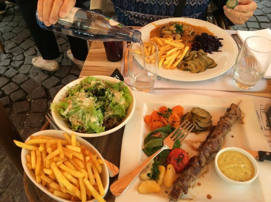 Five veggies, skewer of beef, fries and salad plus dipping sauce. Ooh la la.