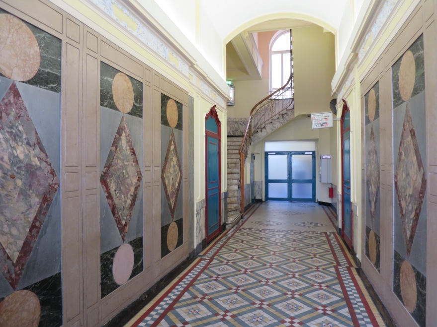 Entry hall in patterned marble
