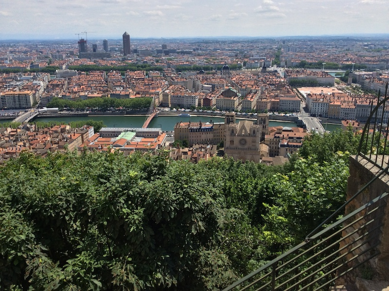 View from the basilica over Lyon to the Saone and Rhone rivers.