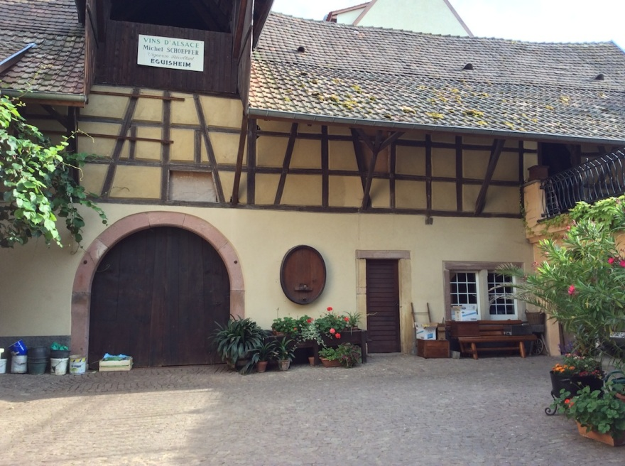 The courtyard of the Michel Schoepfer winery.