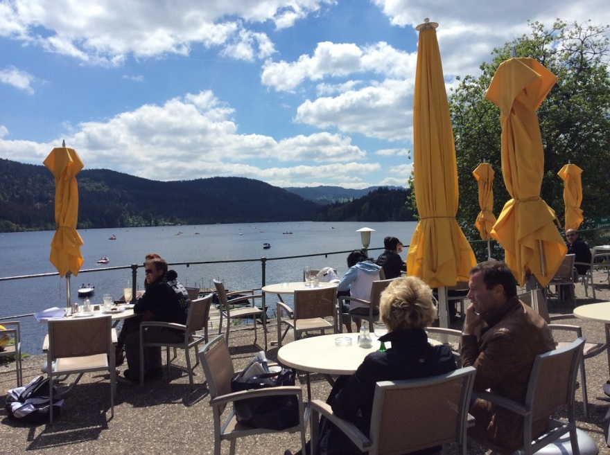 View over Lake Titisee toward the highest mountains in the Black Forest.