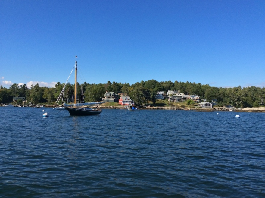 We pass a Friendship sloop,  a typical New England design.