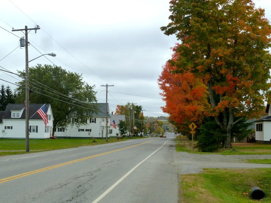 Flags along the road into town