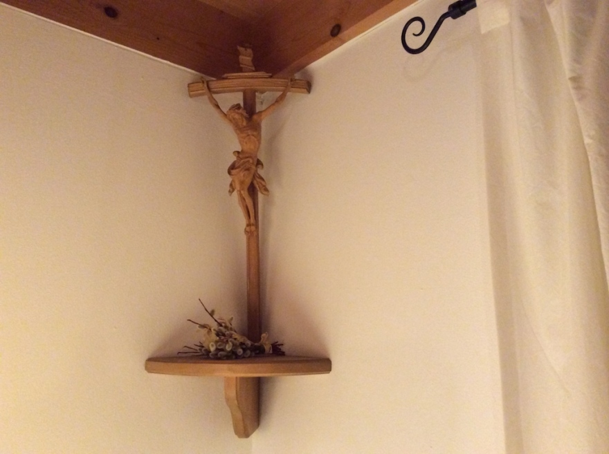 Crucifix overhangs our dining table