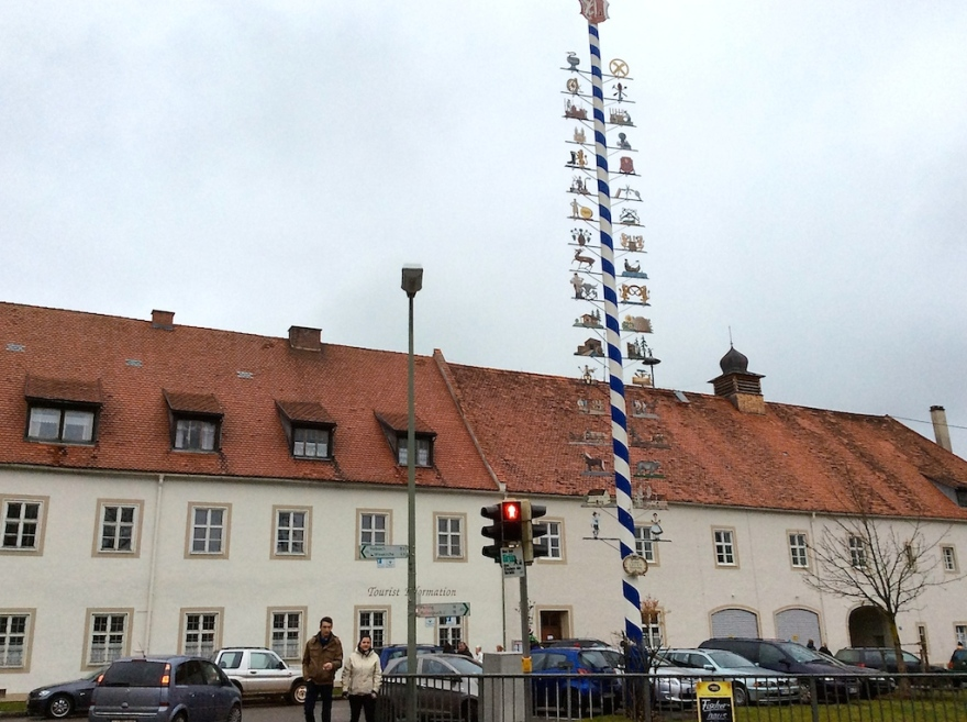 Many towns have Maypoles, depicting trades to be found there.