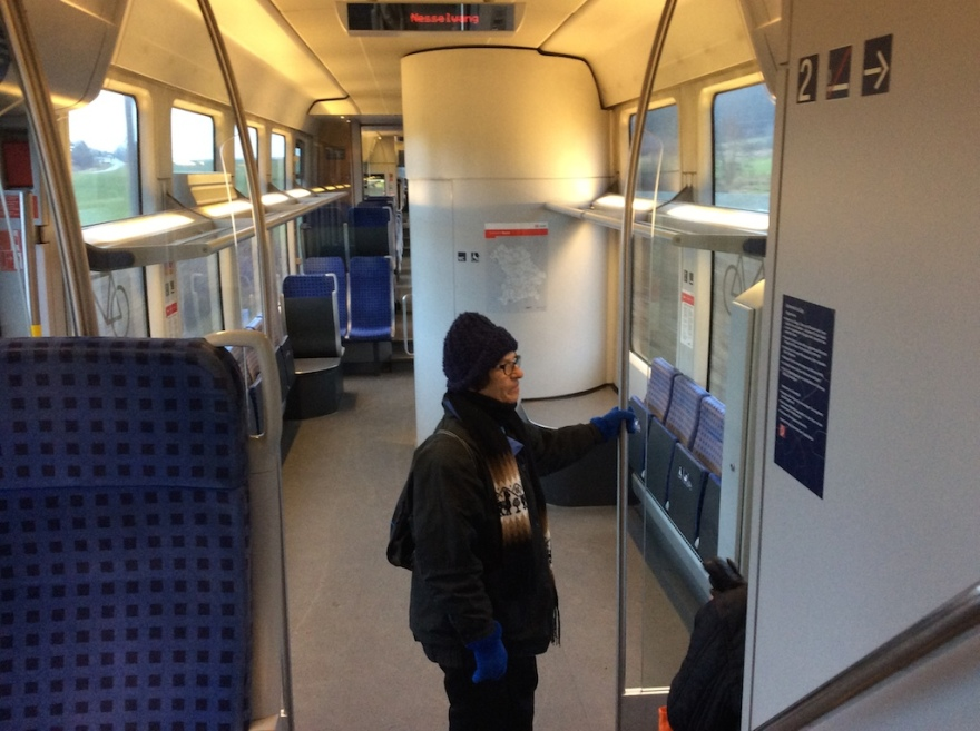 The train was pretty empty today. No snow. No skiers.