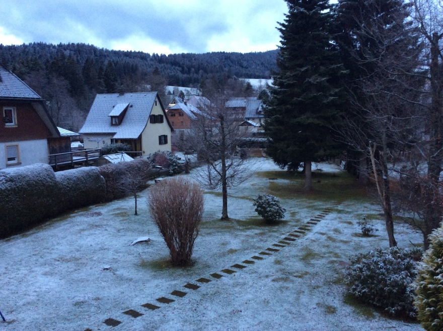 A bit of snow fell overnight as seen from our living room.