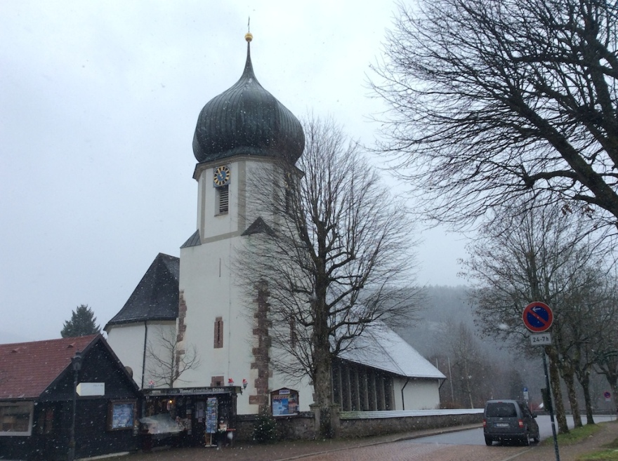 Typical south German church rather marked the start of our two hour walk through the snow.