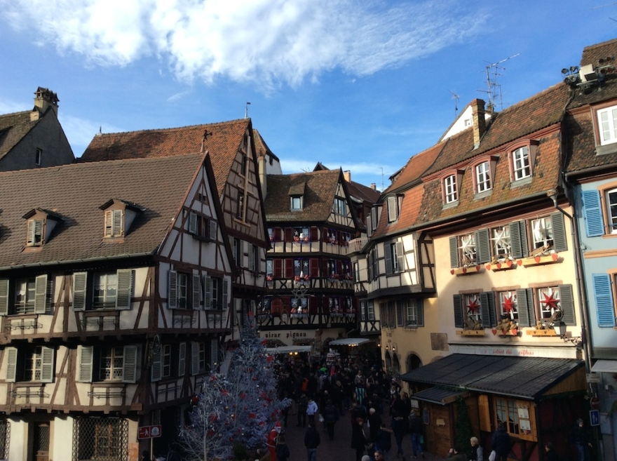 One of many Colmar plazas with Christmas decorations