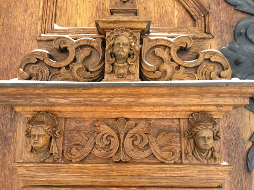 Ancient church door carvings
