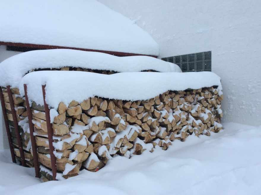 Firewood is blanketed