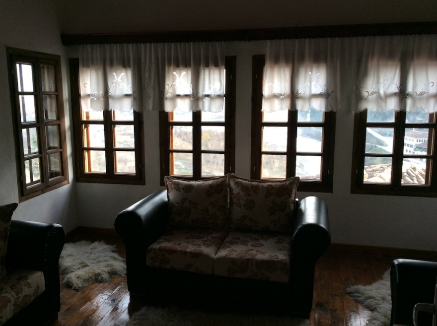 View from the living room, out Ottoman-style windows