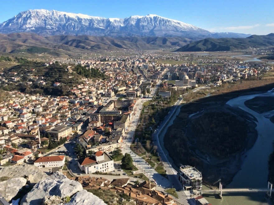 The view over Berat is smashing. The peaks are above 8000 feet.