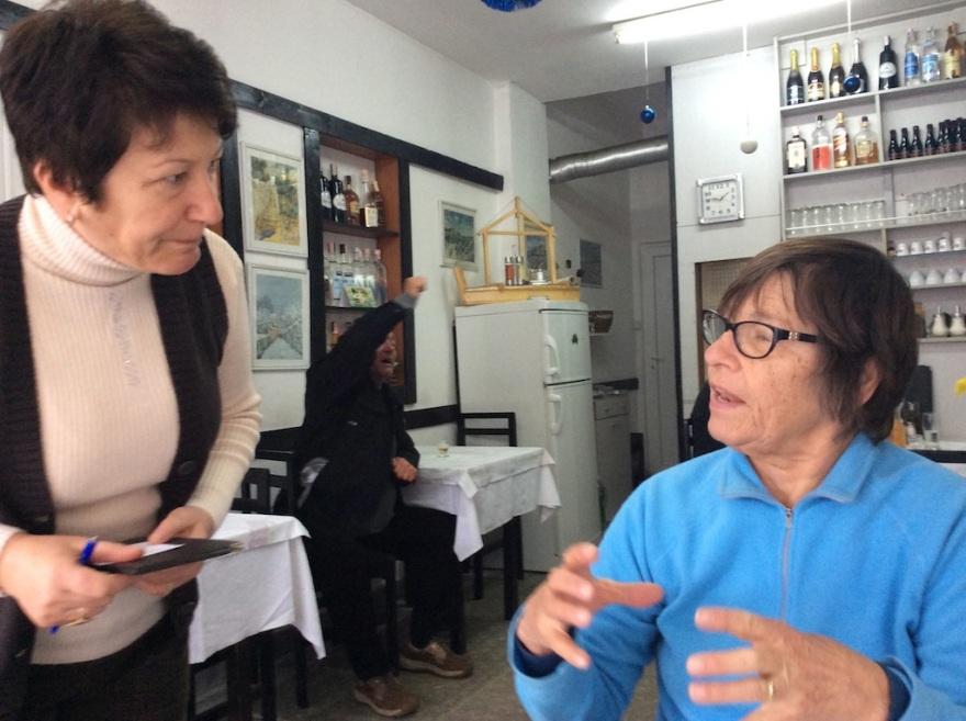 Eva practicing her best Macedonian, a language akin to Bulgarian