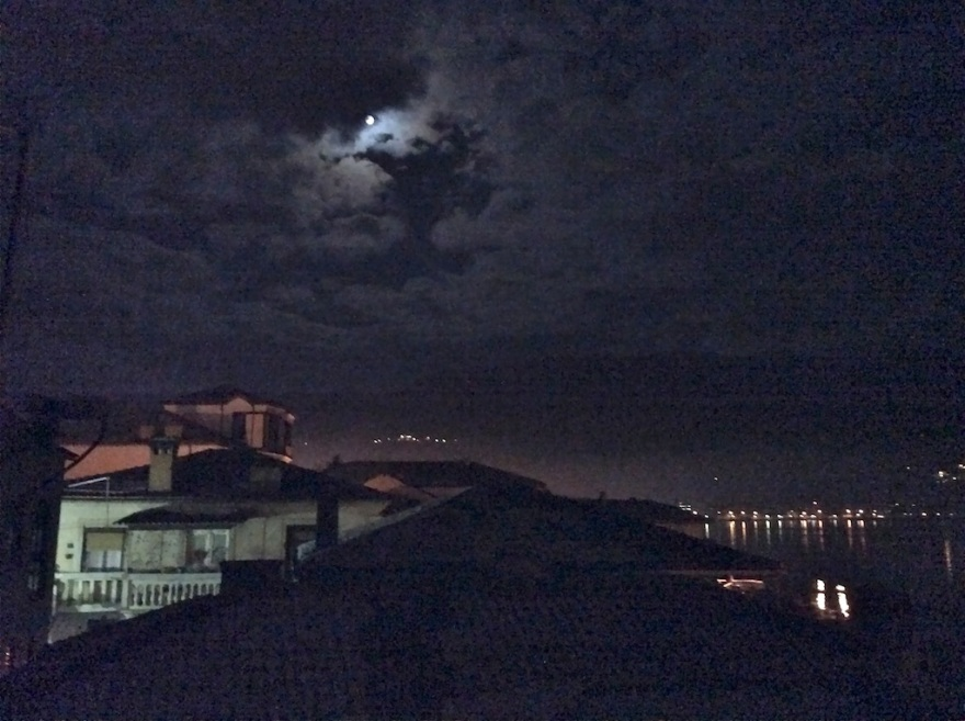 Back home we enjoy an eerie moonrise.