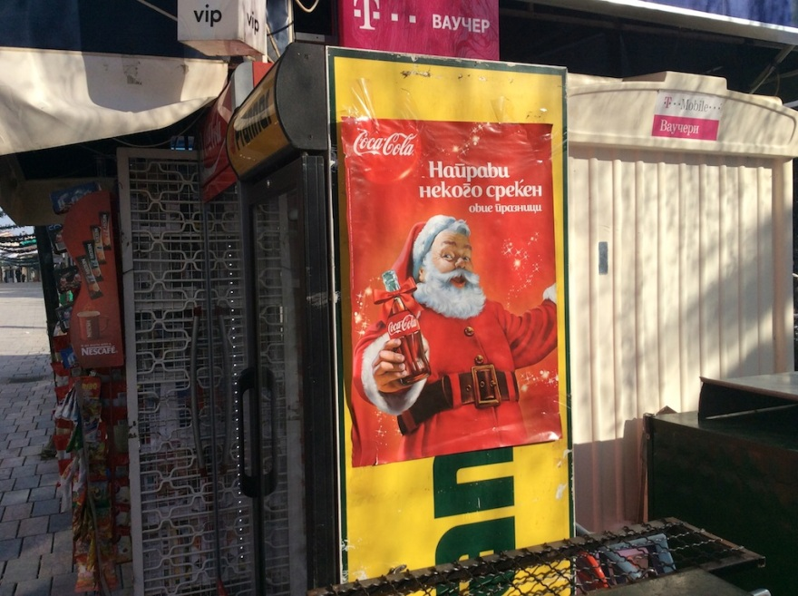 Santa greets us along the way and offers us a Coke.