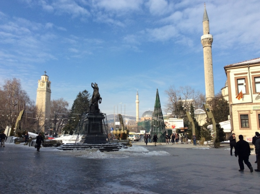 Holiday tree, mosque and Christian clock tower mark the center of Bitola.