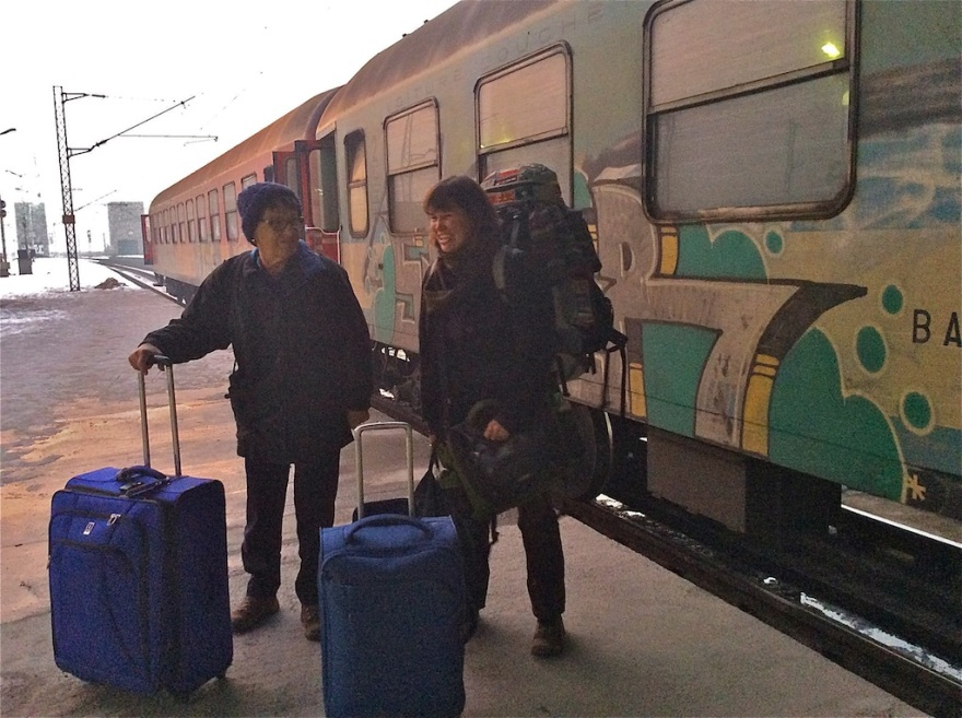 We arrive with all our possessions at the train station.