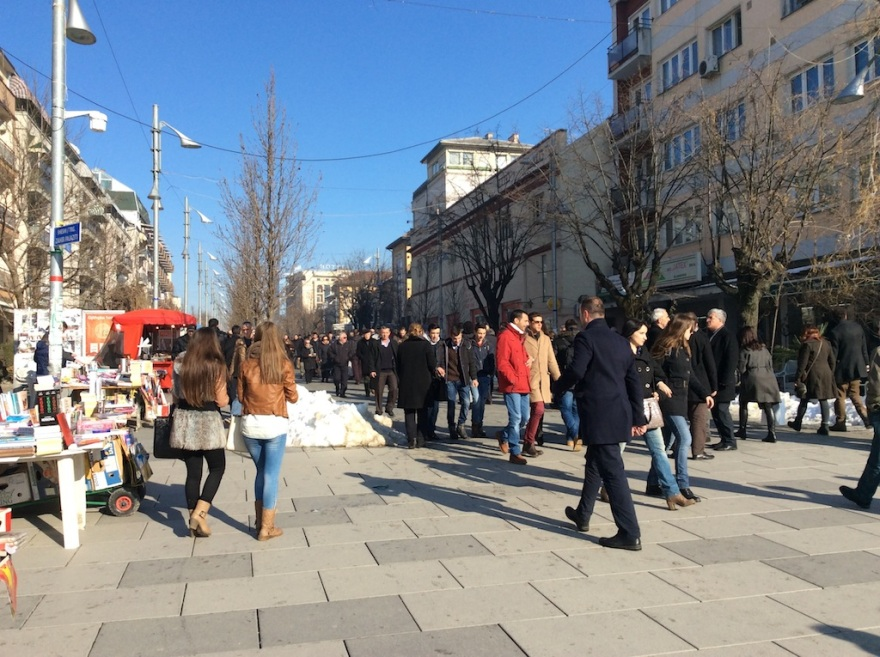 The pedestrian mall of Prishtina