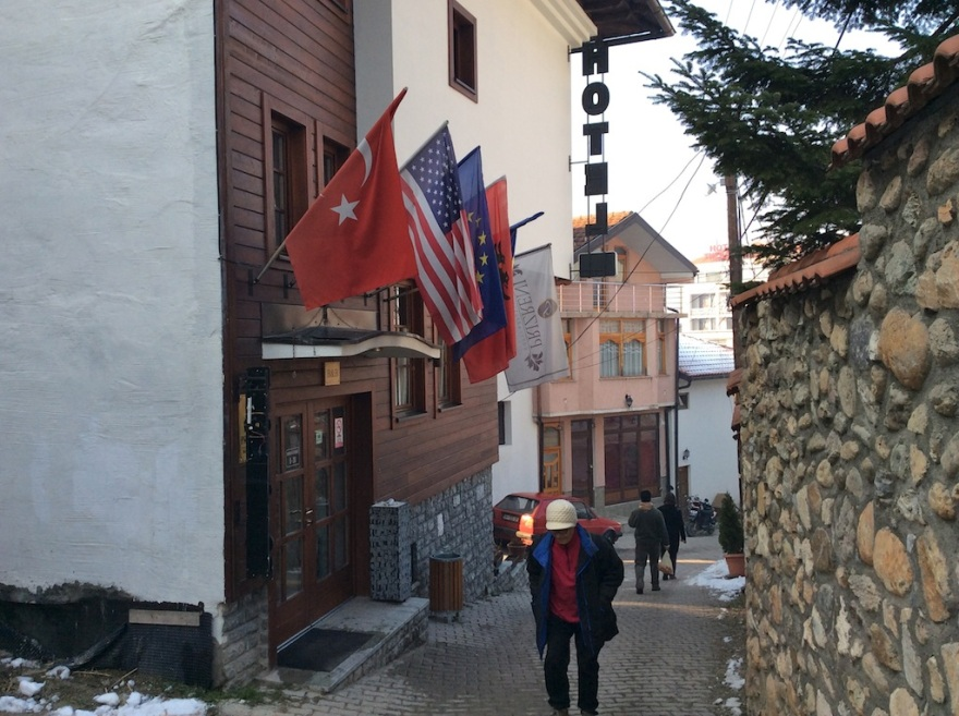 Up the hill to our hotel, on the left