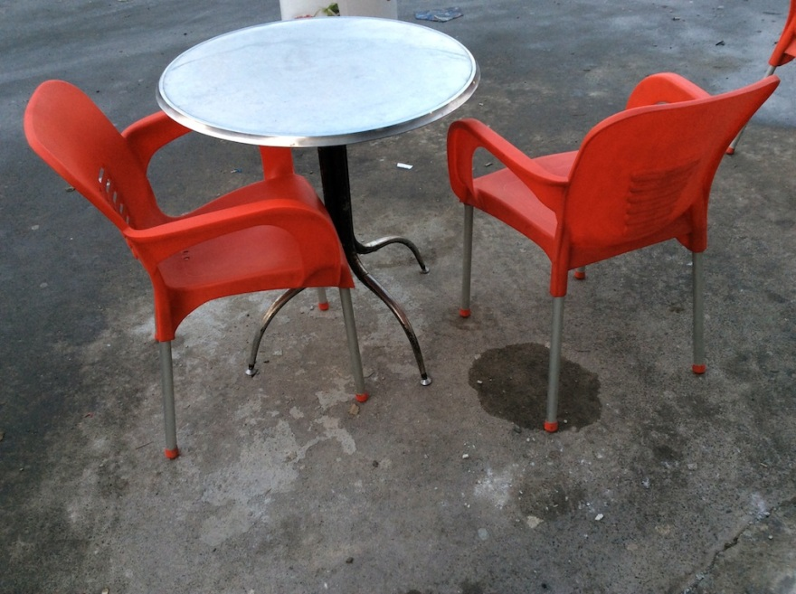 Chairs with red tips
