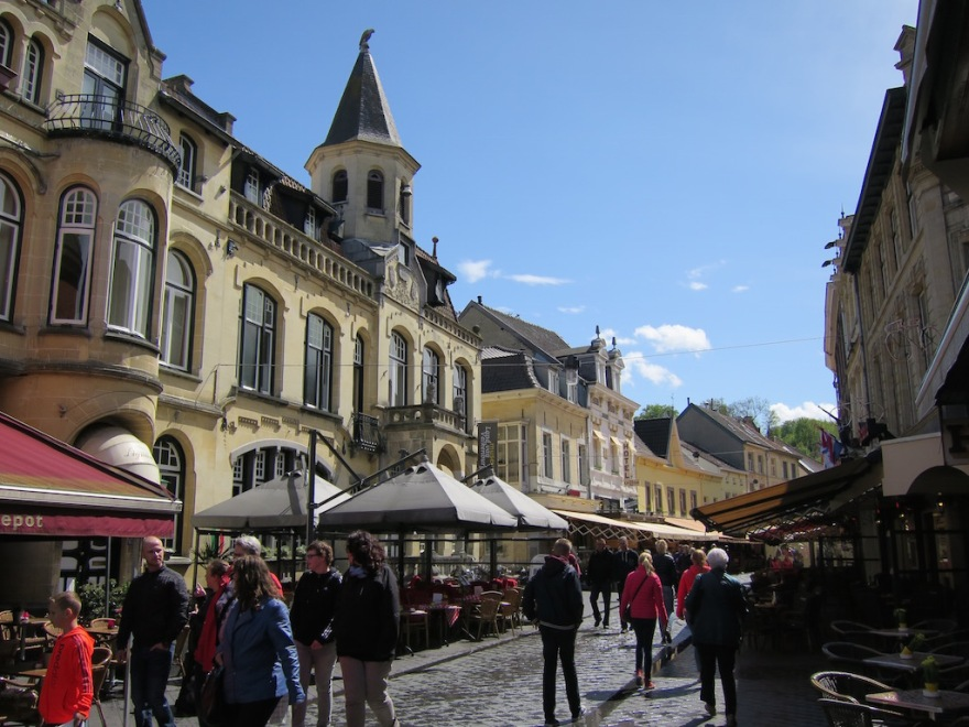 The main street, lined with outdoor cafes, like Paris.
