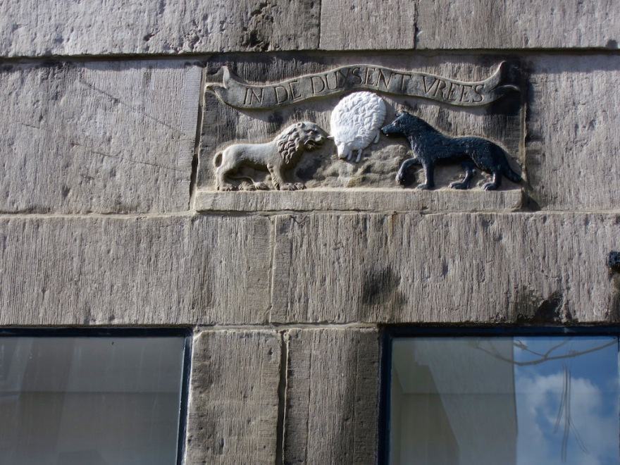 A little detail carved above a window.