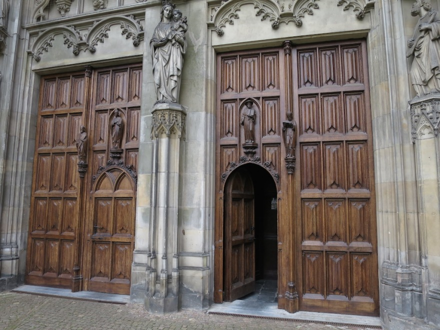 Fine carved oak doors on the cathedral