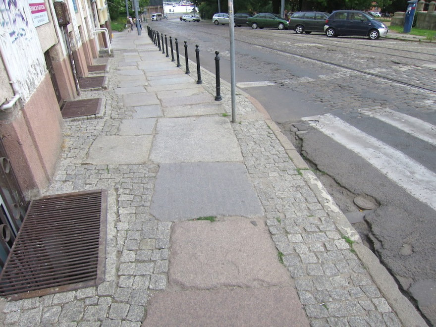 Typical sidewalk paving in Poland