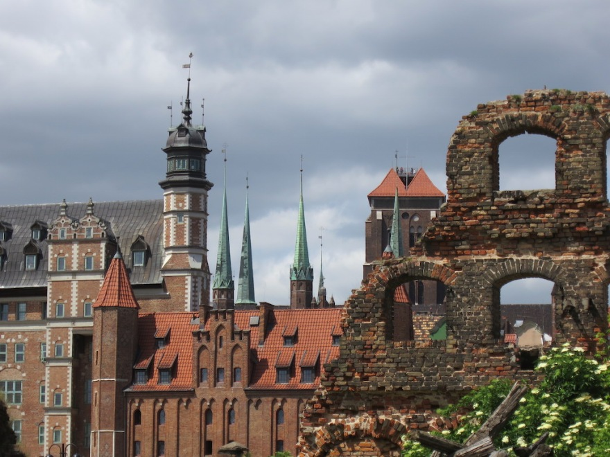 View from unrestored ruins toward the city spires